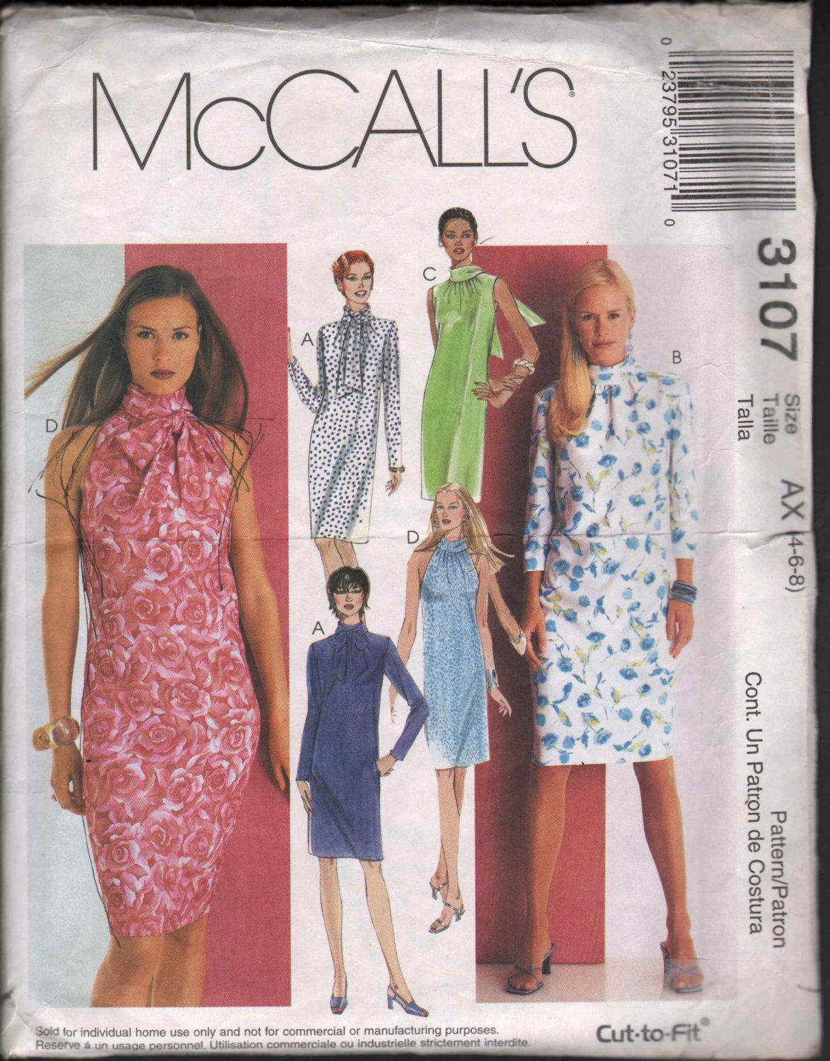 OOP McCall�s 3107  Misses�/Misses Petite Pullover Dress Four Design Options SZ 4-8 FF