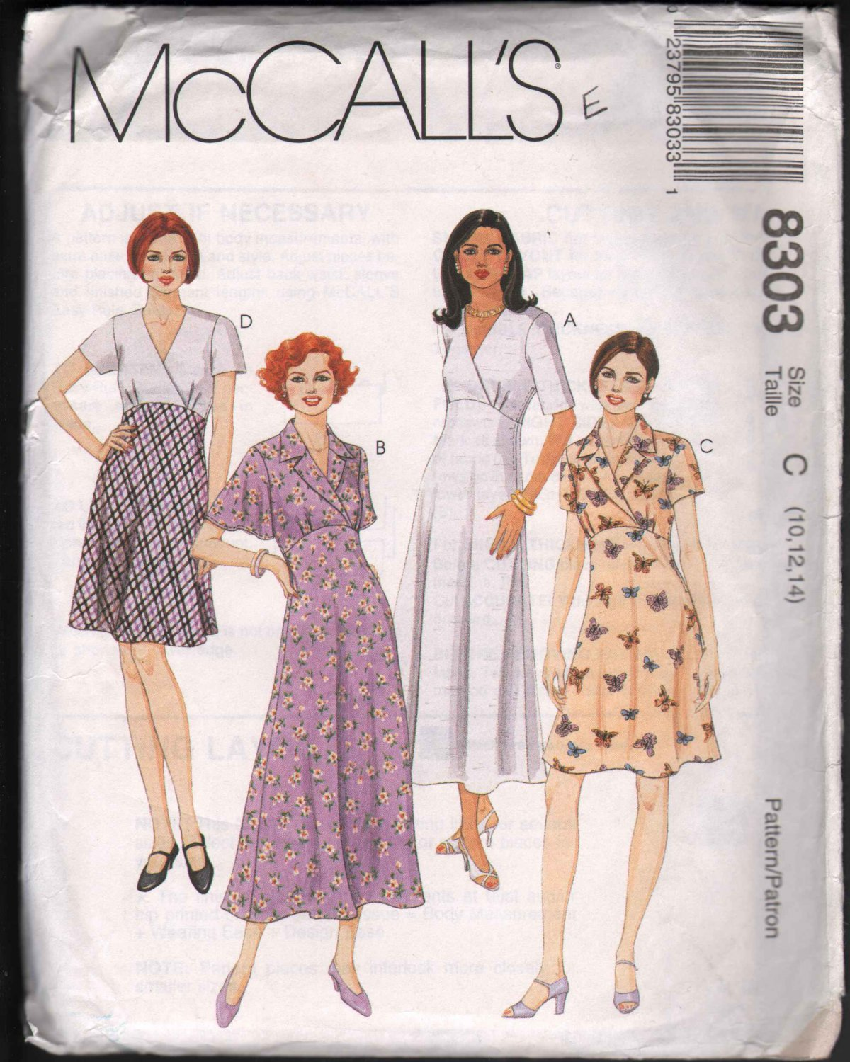 OOP McCall�s 8303 Misses� Empire Bodice Dress In Two Lengths -SZ 10-14  FF