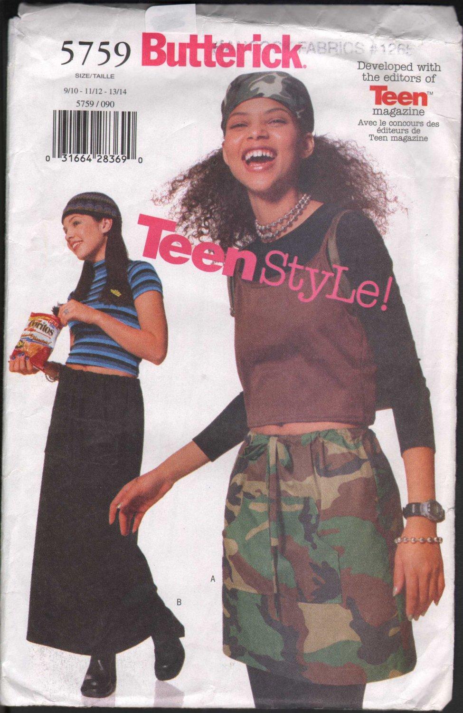 OOP Butterick 5759 Junior�s Teen A-line Drawstring Skirt w/ pocket & Two Length Options   SZ 9-14