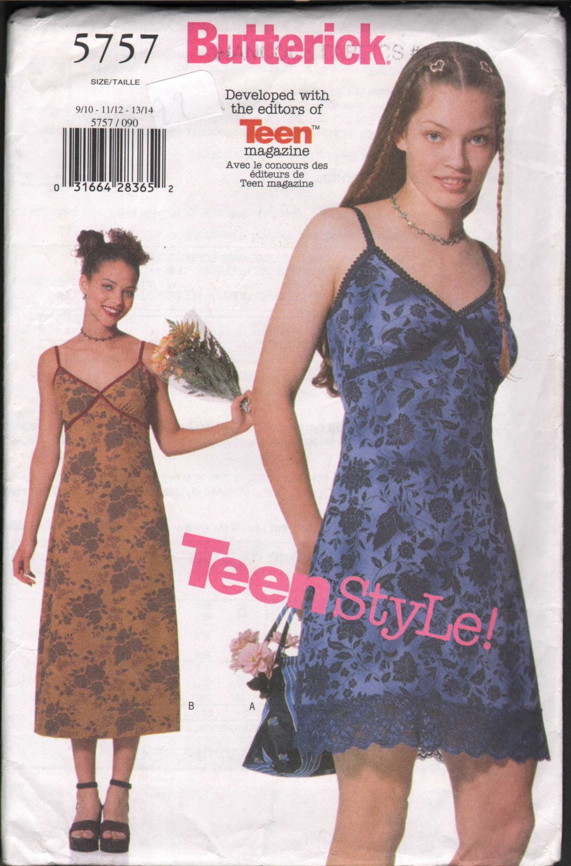 OOP Butterick 5757 Junior�s/ Teen  A-line Slip Dress w/ Two Length Options  SZ  9-14