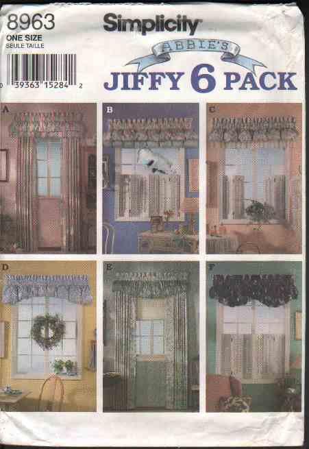 OOP Simplicity 8963 Abbie�s Jiffy 6 Pack Window  Poufs Valances & Panels Pattern  FF