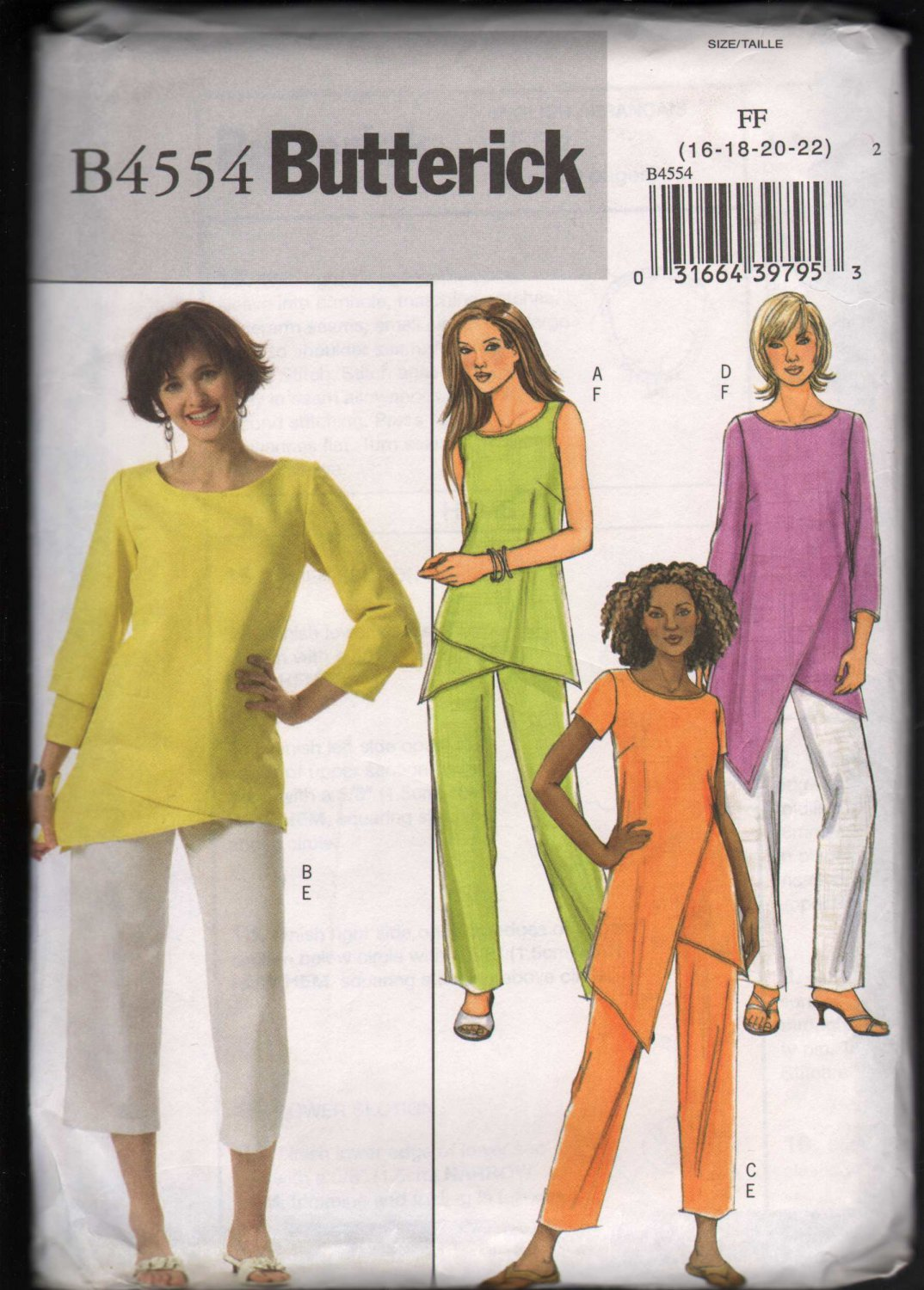 OOP Butterick 4554 Misses Tunics w/Hem & Sleeve Variations & Pants  SZ 16-22  FF