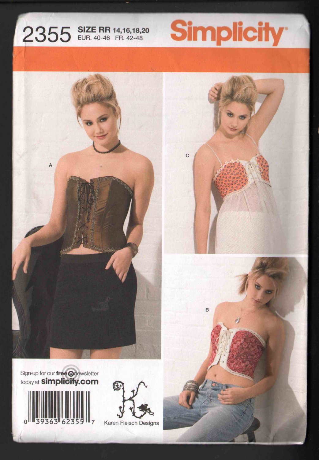 FF OOP Simplicity 2355 Karen Fleisch Designs Misses� Corset Tops w/ Three Design Options Sz 14-20