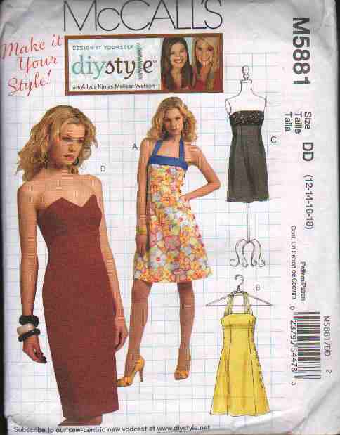 OOP McCall�s 5881 Misses� DIY Style Close-Fitting Dresses In Four Design Options SZ 12-18 FF