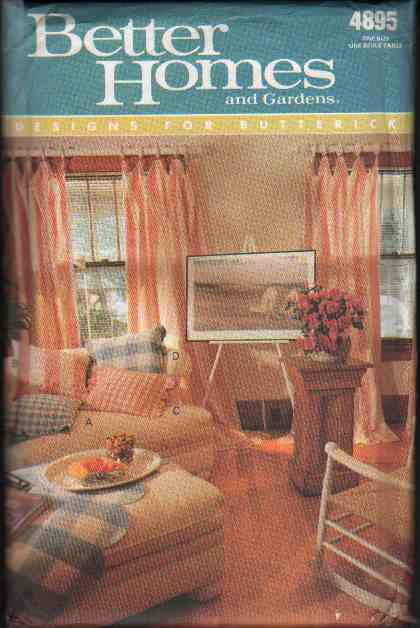 OOP Butterick 4895 Better Home & Gardens Collection Pillow,Chair ,Lampshade Covers & Tablecloth  FF