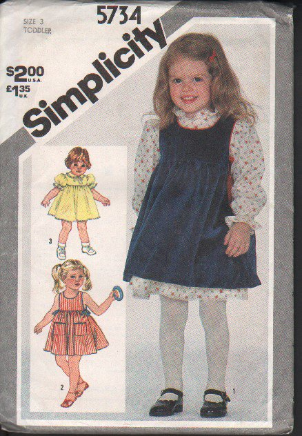 OOP Vintage Simplicity 5734 Toddler�s Dress & Pinafore or Sundress Size 3 FF