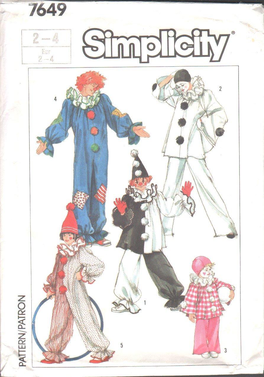 Simplicity 7649 Boys� & Girls� Clown Costumes & Hats Vintage Pattern Sizes Sz Fits 2-4  OOP EUC