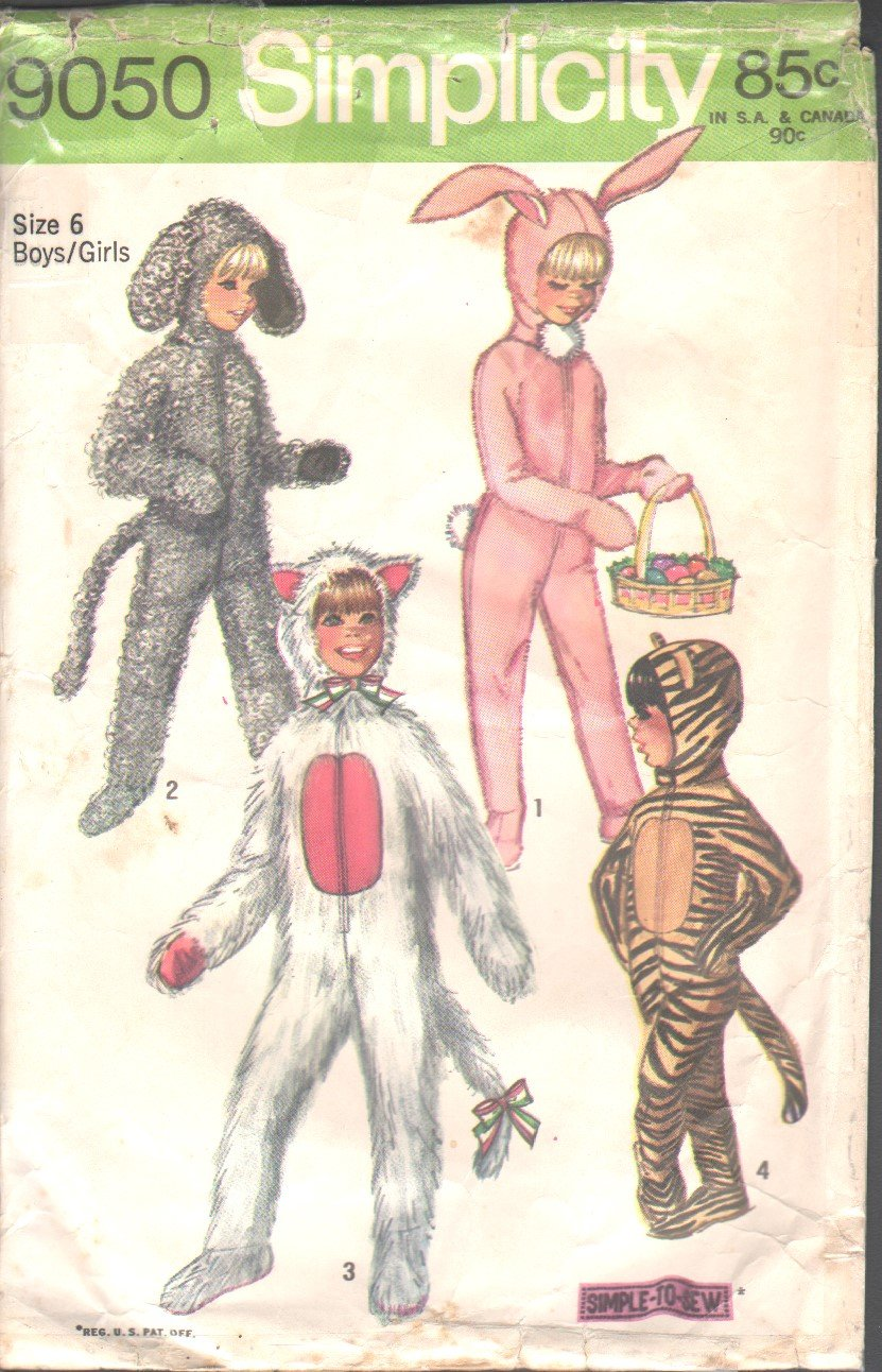 OOP Simplicity 9050 Vintage Boys & Girls Various Animal Jumpsuit &Headpiece Costume Pattern Sz 6 EUC