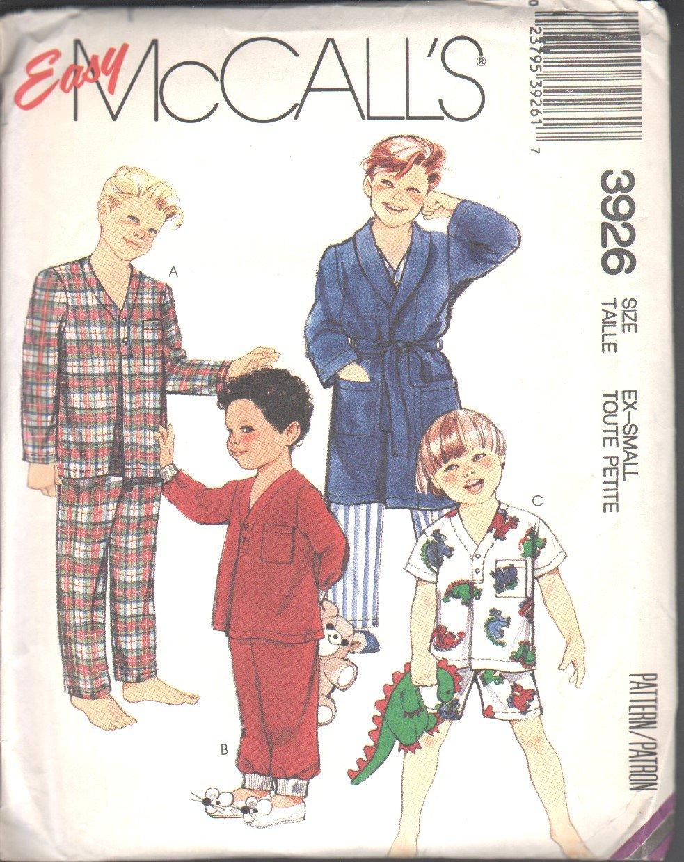 OOP Vintage McCall's 3926  Little Boys�/Childrens� Robe,Tie Belt, & Pajamas SZ X-Small (4-6)FF