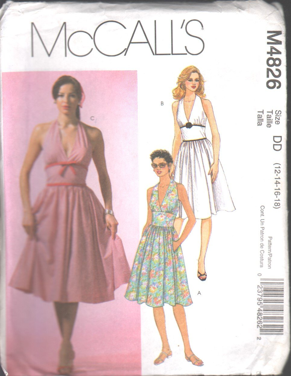 OOP McCall�s 4826 Misses�/Miss Petite Halter Dresses SZ 12-18 FF
