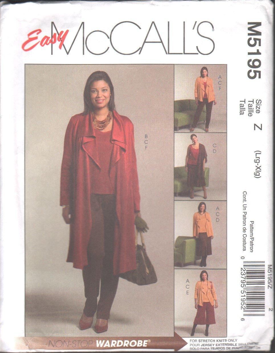 OOP McCall�s 5195 Misses� Unlined Jacket (2 Lengths), Top, Skirt, Gaucho & Pants SZ L-XL FF