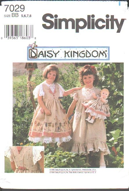 OOP Simplicity 7029 Daisy Kingdom Child�s Pinafore Dress & Doll Dress for 17 inch Doll Sz 5-8 Used