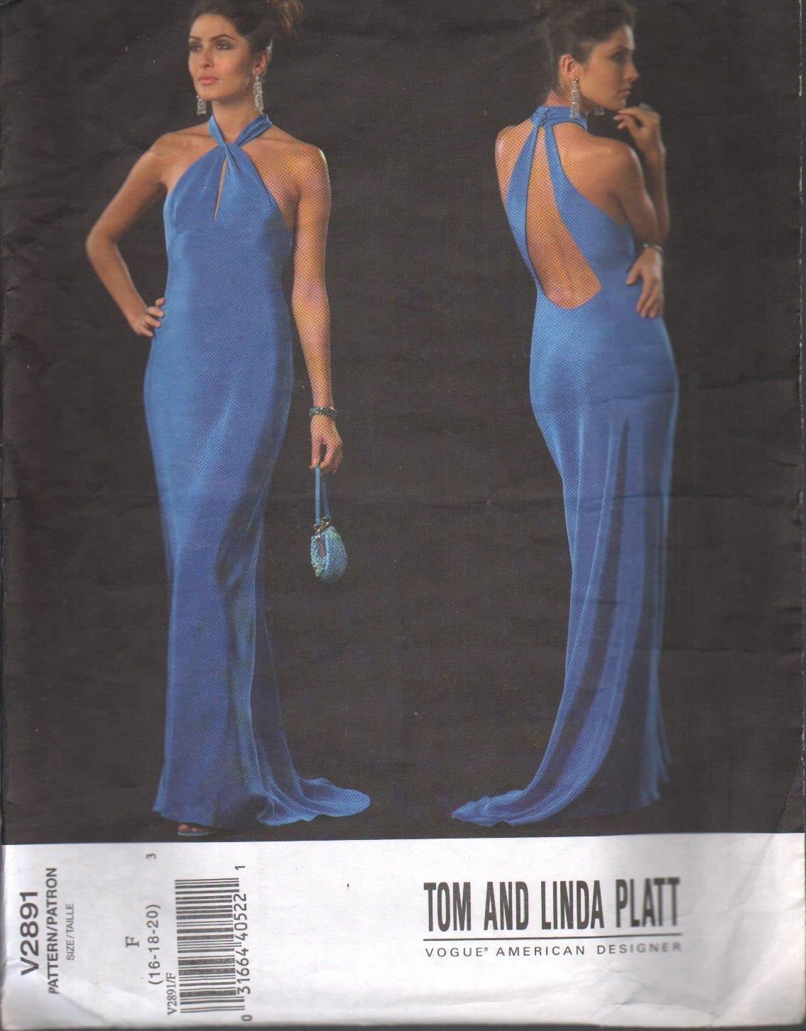 OOP Vogue 2891 Tom & Linda Platt Misses' Evening Dress Sz 16-20; Uncut/FF