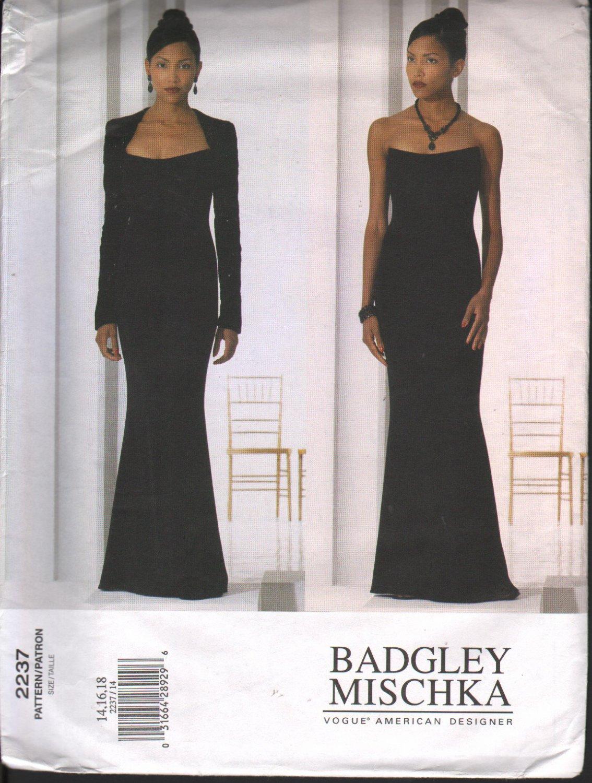 OOP Vogue 2237 Badgley Mischka Misses' Eveningwear Sz 14-18 ; Uncut/FF