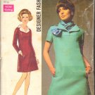 OOP Simplicity 8446 Misses Dress &Scarf Designer Fashion w/ Leaflet 1969 CC Sz 10