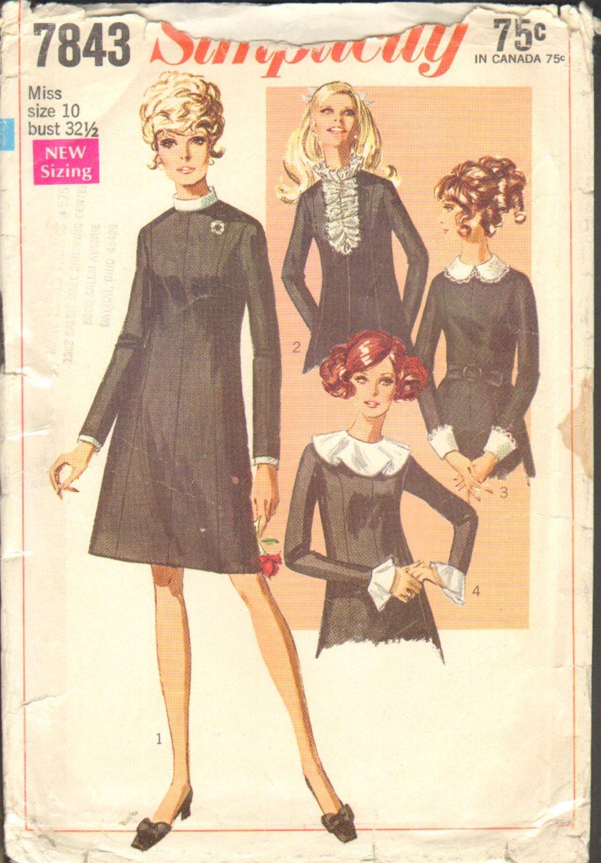 OOP Simplicity 7843 Misses Dress w/ Detachable Trims 1968 CC Sz 10