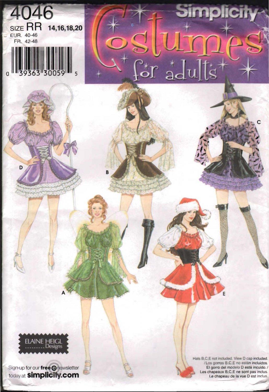 FF Simplicity 4046 Misses' Mini Dress Costumes Sz 14-20