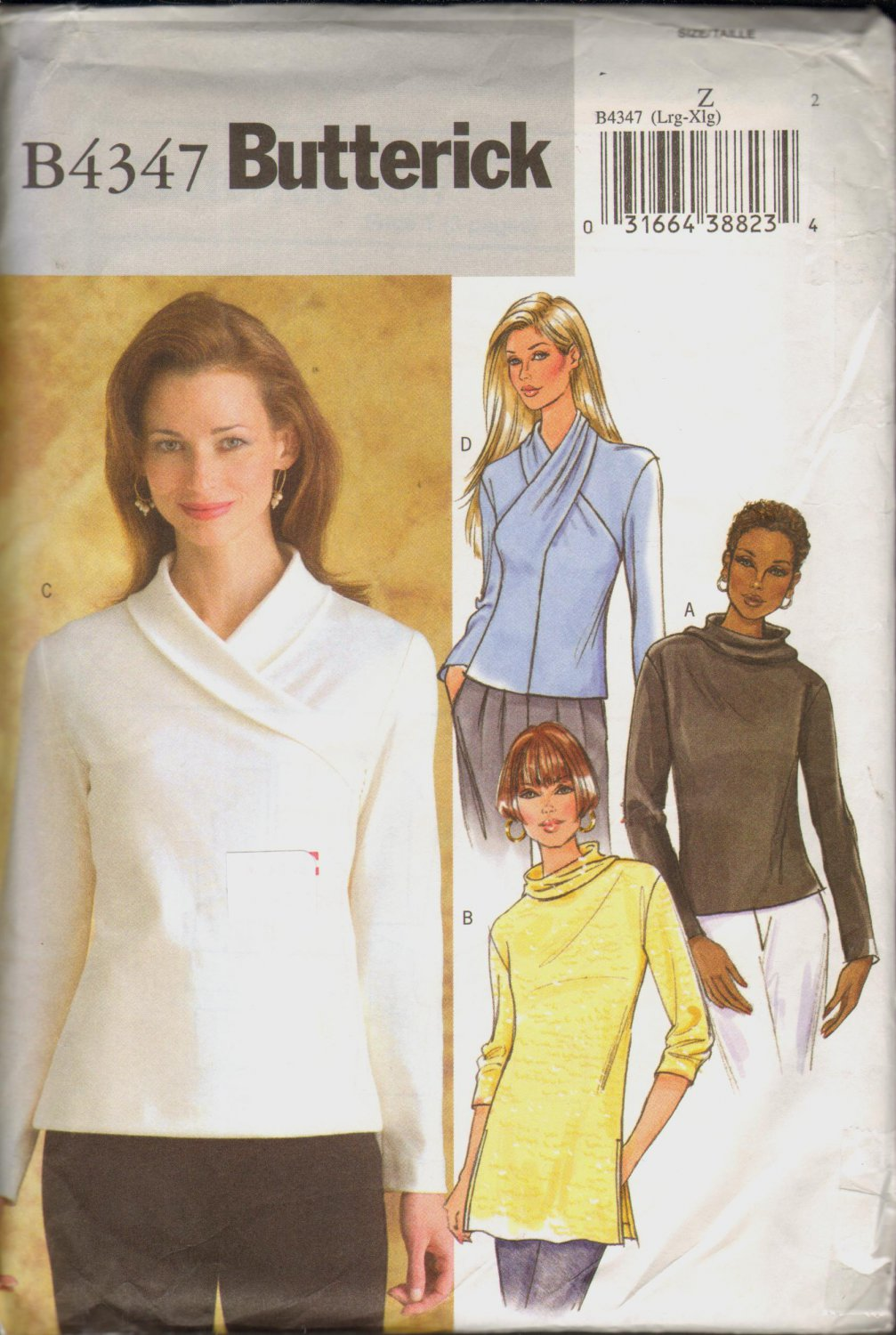 OOP Butterick 4347 Misses' Tops Size Large & Extra Large Uncut/FF