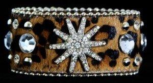 Leopard Print Jewelry CUFF With GENUINE Leather Austrian Crystal Star- NWT