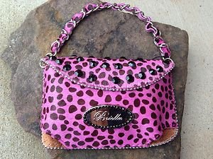 Clutch Cell PURSE GENUINE LEATHER & Austrian Crystal NWT~BEAUTIFUL! Pink Leopard