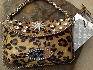 Leopard Print Clutch Cell PURSE GENUINE LEATHER & Austrian Crystal NWT~adorable!
