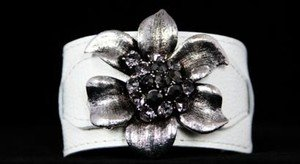 WHITE FLOWER GENUINE Leather Buckle Cuff ~Crystal~ NWT ABSOLUTELY BEAUTIFUL!!