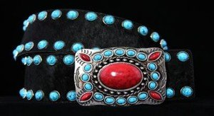 BLACK & TURQUOISE & RED Wide Belt~Black Genuine Leather~l~All sizes~NWT