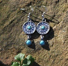 TURQUOISE and Crystal Earrings -SILVER Tone with NEW w TAG