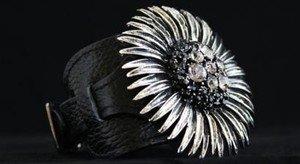 Black & Gray Leather Flower Buckle Cuff ~Embellished In Genuine Crystal~NWT~CUTE