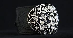 Black Leather Buckle Cuff ~Embellished In Genuine Crystal~NWT