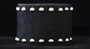 WIDE Black Leather CUFF  ~Adjustable NWT!! VERY Cute!!! ~Genuine Hair on Hide~