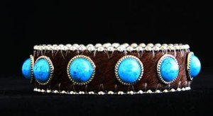 Brown & Turquoise  Leather Cuff~Hair On Hide  Adjustable cuff~ NWT Retail $35+