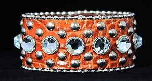 Rust Brown Wide Leather Cuff Bracelet Adjustable Bling Cuff - NWT~Stunning!!