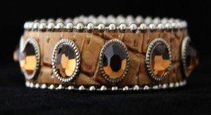 Beige Leather Cuff Bracelet ~ Adjustable ~ NWT Retail $35+CUTE!!! BLING Cuff