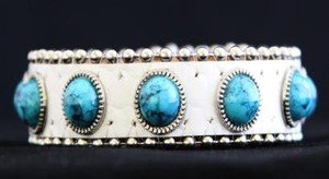 White & Turquoise Leather Cuff~  Adjustable Bracelet~ NWT Retail $35+CUTE!!!