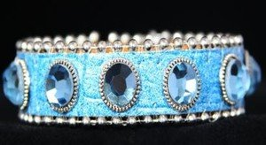 Blue Leather Cuff~ BLING Adjustable Bracelet~ NWT Retail $35+