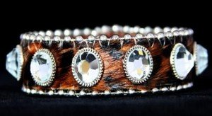 Leopard Leather Cuff~Hair On Hide BLING Adjustable Bracelet~ NWT Retail $35+