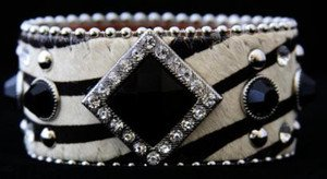 Zebra Print Wide Cuff Genuine Leather Adorned w/ Crystal~ ~Adjustable NWT!!