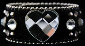 Wide Black Cuff with Heart Genuine Leather Adjustable Cuff  NWT Retails For $39+