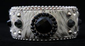 Wide Leather Cuff~ADJUSTABLE ADORNED With Black Austrian Crystals NWT! GORGEOUS!