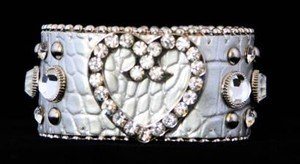 Silver Heart Bling  Leather Adjustable Cuff w/ Crystal NWT  Retails For $39+++