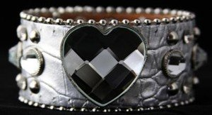 Silver Heart Bling  Leather Adjustable Cuff - NWT  Retails For $39+++