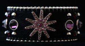 Cowgirl Cuff Bracelet Black & Purple Cuff ~ Genuine Leather Hair on Hide NWT