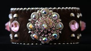 PInk and Brown Bling Cuff Bracelet Brown~ Genuine Leather Hair on Hide NWT