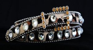 Skinny Bling Leopard Print Belt~Genuine Leather & Austrian Crystal~NWT all Sizes