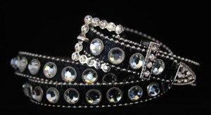 Black Bling Skinny Belt~Genuine Leather & Austrian Crystal~NWT~all Sizes!!