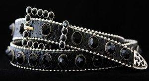 Black Skinny Belt~Genuine Leather & Austrian Crystal~NWT~all Sizes!! GORGEOUS!!