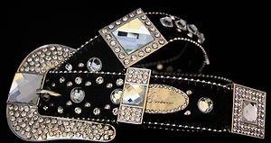 Black Bling Belt, Clear Austrian Crystal~Hair On Hide NWT S, L, XL~Gorgeous!!