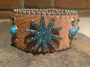 Turquoise Wide CUFF With GENUINE Austrian Crystal - NWT~Adjustable cuff bracelet