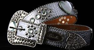 Silver Leather Belt, Clear Austrian Crystal~ NWT S, M, L, XL ~Bling Belt!